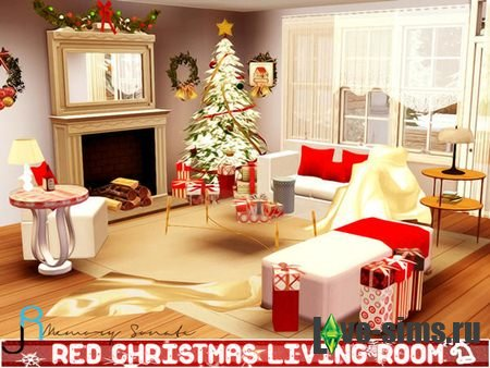 Red Christmas Living Room by Memory Sonate