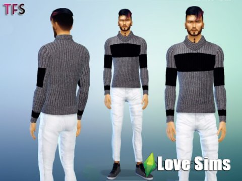 Black & Grey Sweater by TwistedFate Sims