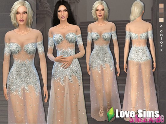 Nude illusion tulle prom gown от sims2fanbg