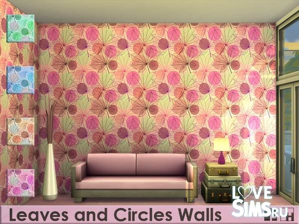 Обои Leaves an Circles Walls от Pinkfizzzzz