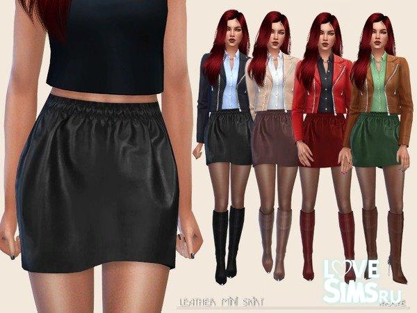 Юбка Leather Mini Skirt от Paogae