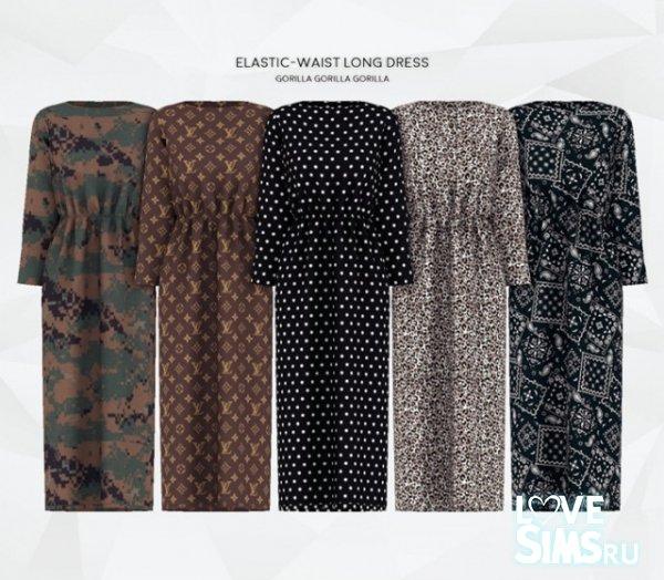 Платье Elastic-Waist Long Dress от Gorilla