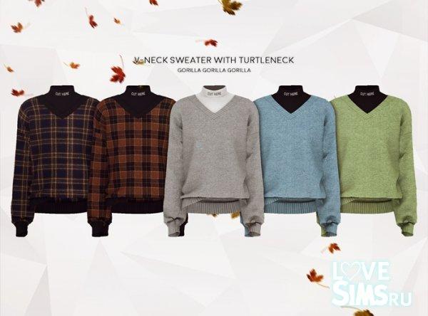 Свитер V-Neck Sweater With Turtleneck