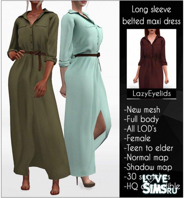 Платье Long sleeve belted maxi dress