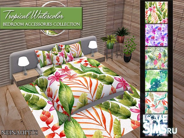 Декор Tropical Watercolor Bedroom Accessories
