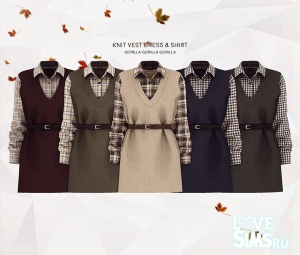 Платье Knit Vest Dress & Shirt