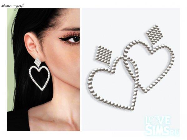 Серьги Pearl heart от Dreamgirl