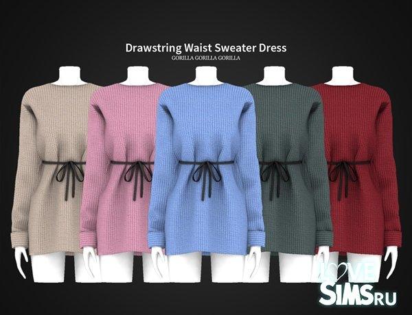 Платье Drawstring Waist Sweater Dress