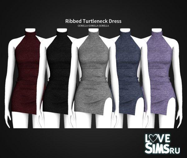 Платье Ribbed Turtleneck Dress