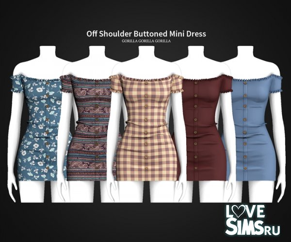 Платье Off Shoulder Buttoned Mini Dress
