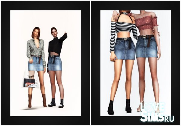 Юбка Belted Denim Mini Skirt