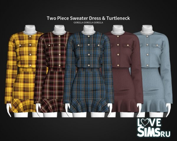 Платье Two Piece Sweater Dress & Turtleneck
