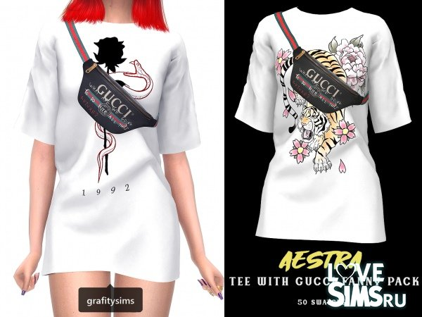 Футболка Aestra tee with gucci fanny pack