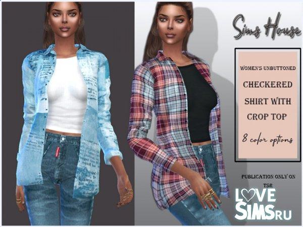 Рубашка Women's unbuttoned checkered shirt